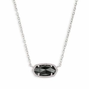 Kendra Scott Elisa Silver Pendant in Black Opaque